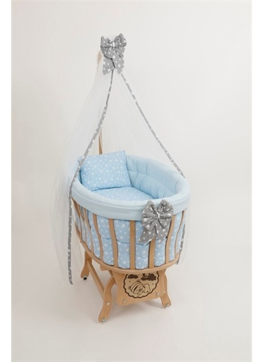 "Bebe Konfor Doğal Ahşap Sepet Beşik ""Pembe Yıldız"" Set İle Mavi"